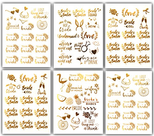 Tropical Bride Bachelorette Temporary Tattoos - Over 100 Team Bride Tribe Gold Metallic Tattoos (6 Sheets) Bachelorettesy -