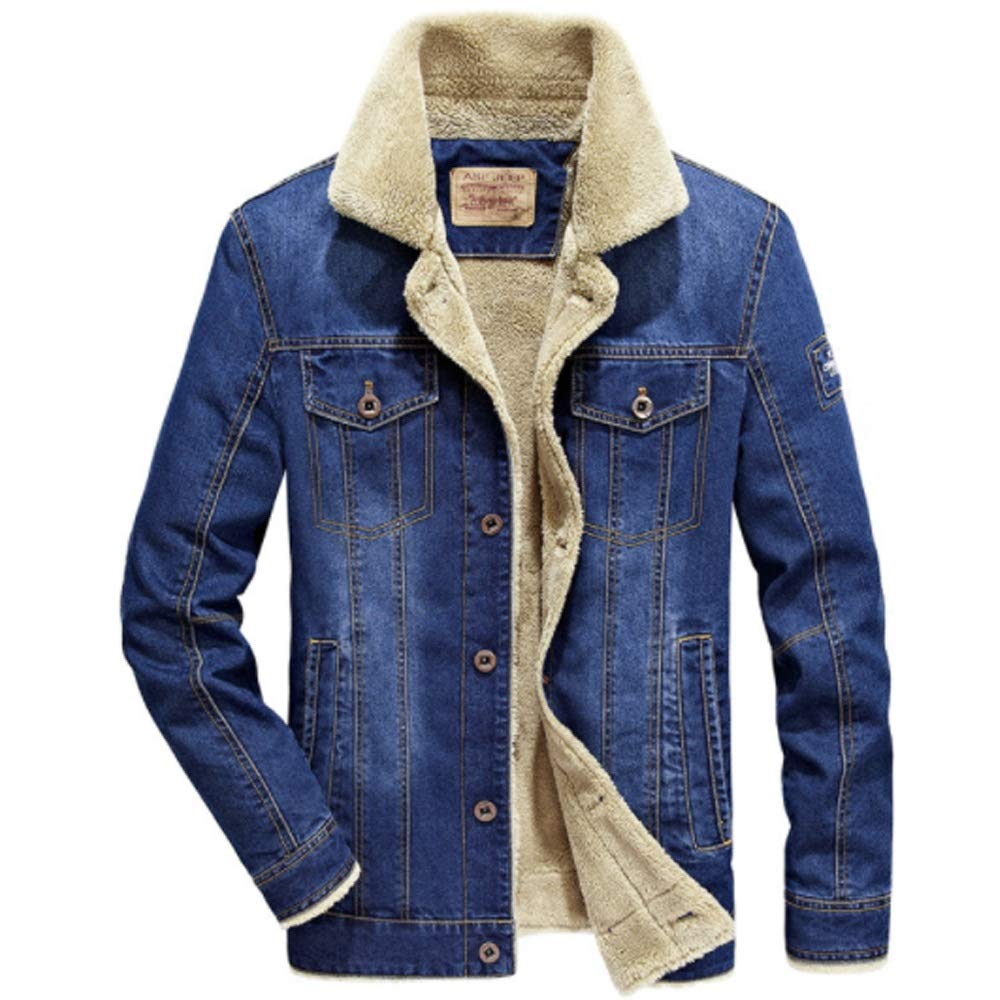 Men Winter Denim Jacket Metal Pocket Button Long Sleeve Warm Top