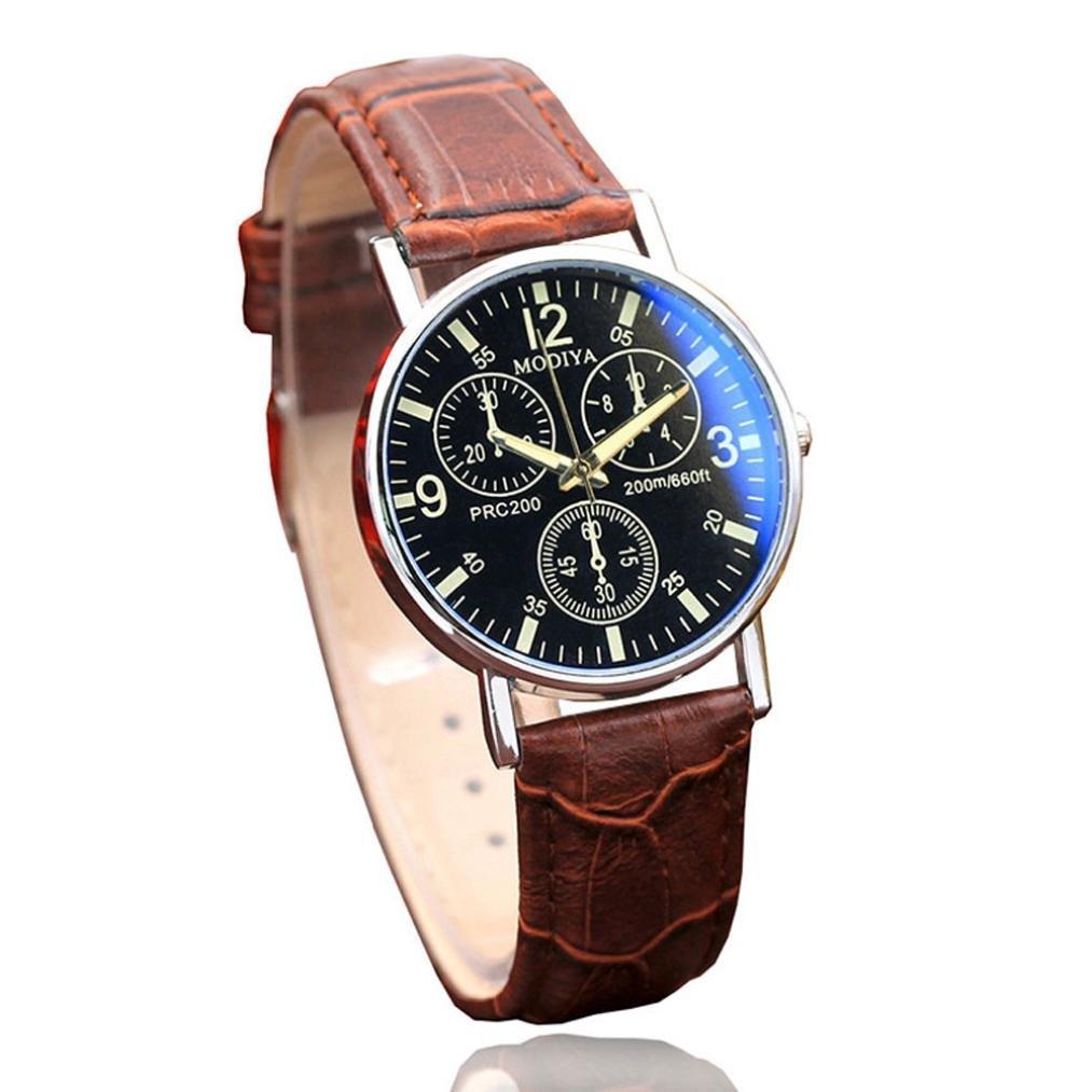 Watch Promotion! Pandaie Six Pin Watches Quartz Men's Watch Blue Glass Belt Watch Men (Brown)