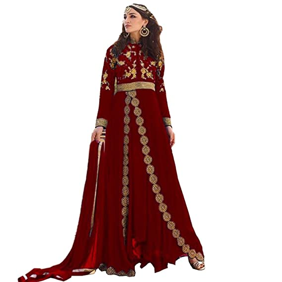 9b96fa76a70 Buy Full Length Long Anarkali Maroon Dress Online Shopping At Low Price   Amazon.in  Clothing   Accessories