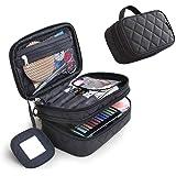 Mlmsy, astuccio da donna per il trucco, con specchio, kit di bellezza da viaggio per pennelli e cosmetici, contenitore professionale e multi-funzionale