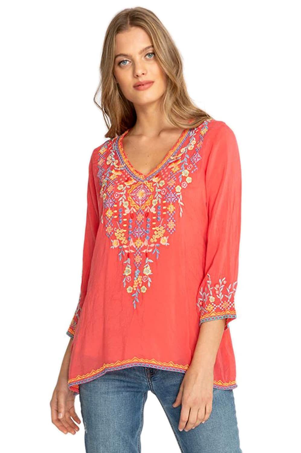 Johnny Was Collection Passion Fruit Ryleigh Blouse (MSRP  225)