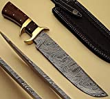 "BTB-256, ""13 inches"" Handmade Damascus Steel Hunting Knife with Natural Wood Handle with Brass Pins For Sale"