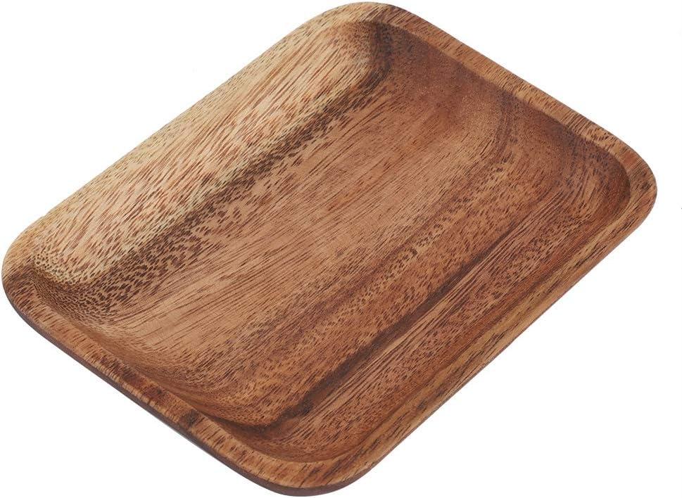 madera restaurante de madera postres 16.5 * 12.5cm//6.5 * 4.92in ensalada Elegante bandeja de sushi para aperitivos para el hogar hotel