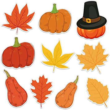 Amazon Com Facraft Thanksgiving Cutouts Decorations 10x10 Inch Colorful Pumpkin Maple Leaves With Glue Point Dots For Fall Bulletin Board Classroom School Party Favor 20pieces Office Products