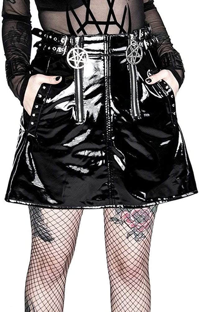 Restyle - Falda de Vinilo Doble Pentagrama Negro Negro (36: Amazon ...