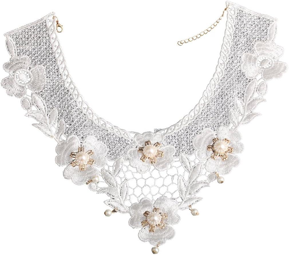 YAZILIND Lolita Blanco Hecho a Mano del Cord¨®n Atractivo Elegante del Collar del Collar de la Flor del Applique de la Perla de Faux g¨®Tica