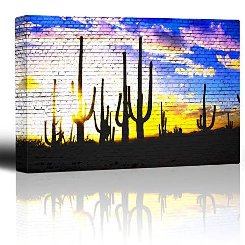 Cactus in the sunrise on a brickwall Two worlds collide Country western art meets urban setting