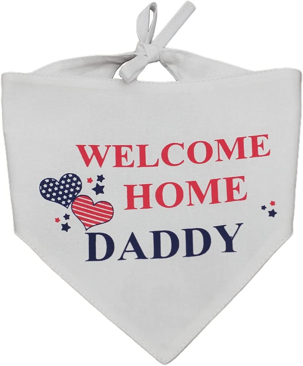 EechicSpace Welcome Home Daddy Dog Bandana Reversible Scarf Military Party Decoration Gift for Small Dogs