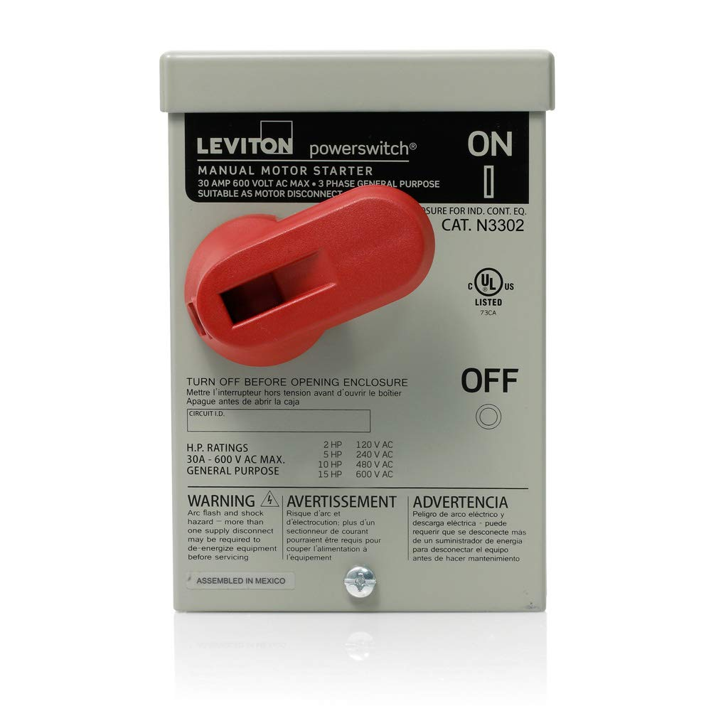 Leviton N3302-DS 30-Amp, 600 Volt, Toggle In Type 3R Enclosure Double-Pole, Industrial Grade, Grounded to Enclosure, Gray - Electrical Boxes - Amazon.com