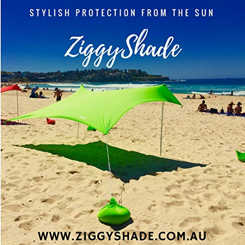 ZiggyShade Beach Tent – Sun Shade – With Sandbag Anchors – UPF50+ (Jasmine Green, Standard)