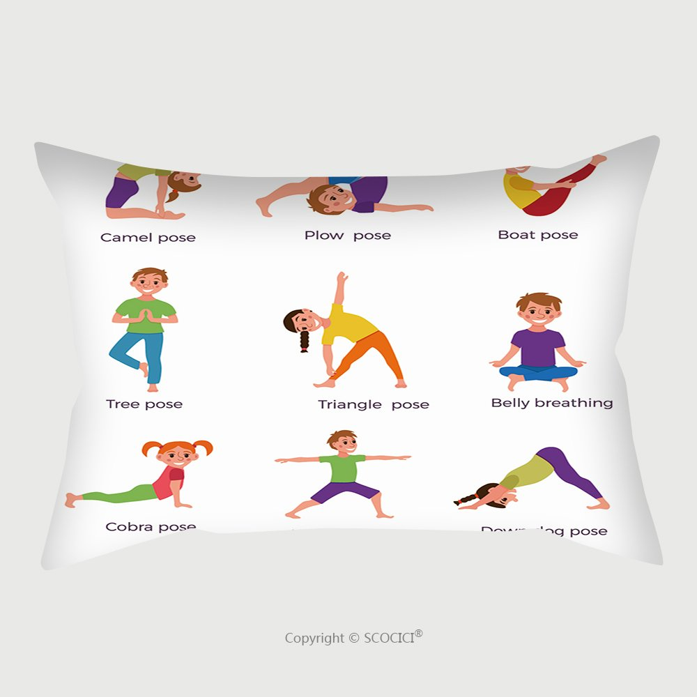 Custom Satin Pillowcase Protector Yoga Kids Poses Set Cute Cartoon Gymnastics For Children And Healthy Lifestyle Sport Illustration 640102318 Pillow Case Covers Decorative
