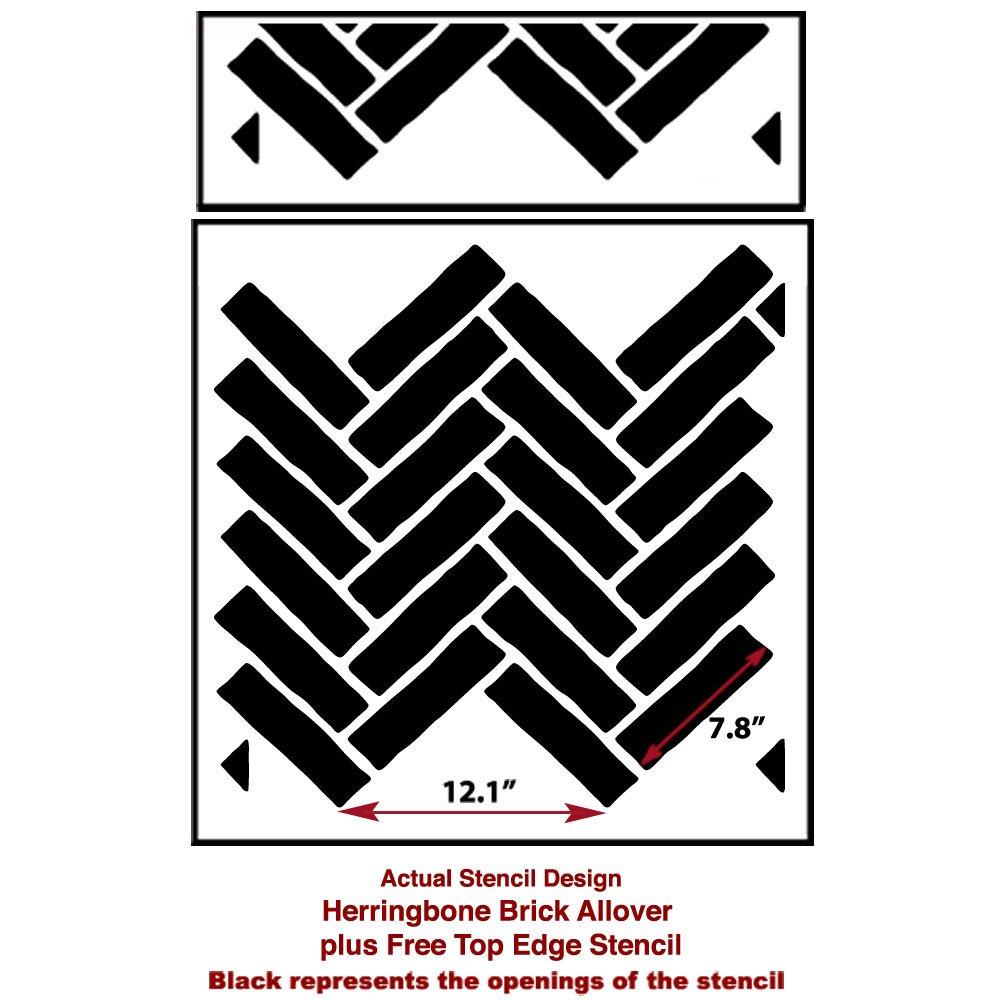 Herringbone Brick Allover Stencil - Reusable stencils for walls ...