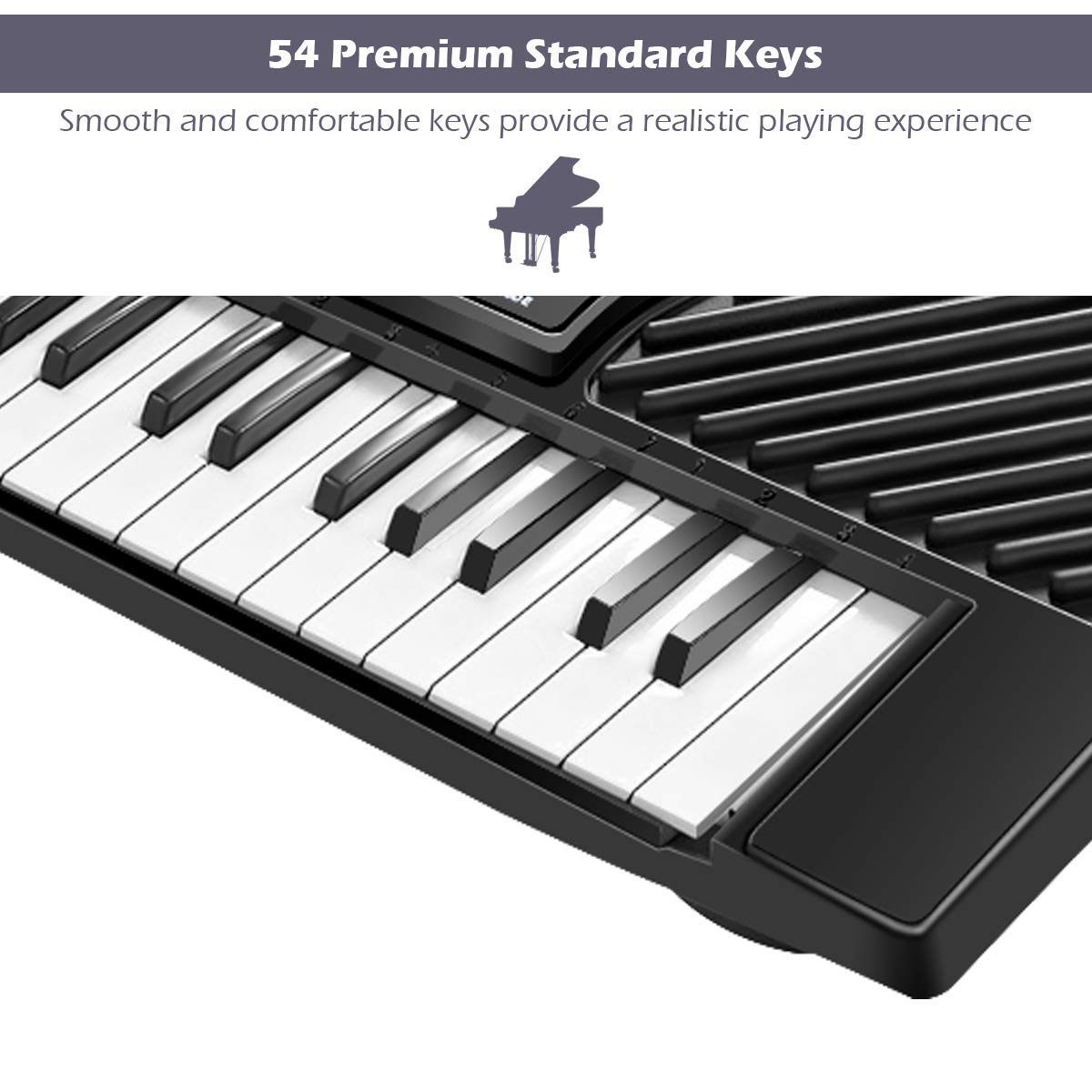 Tangkula 54-Key Electronic Keyboard for Kids Beginners with Mic & Adapter Including LED Digital Display, Learning Function & Demo Songs Standard Accordion Keys Piano Keyboard (Black) by TANGKULA (Image #6)