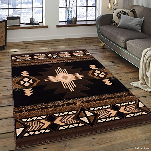Allstar 8 X 10 Black with Brown Woven Native American Runner Area Rug (7′ 10″ X 10′ 2″)