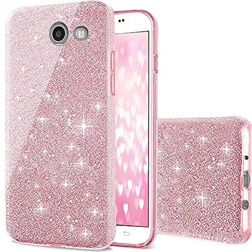 Galaxy J7 Pro Case, J7 Perx Case, Galaxy J7 case,Amagle Back Cover Shinning Protective Bumper Bling Glitter Case for Samsung Galaxy J7(2017)/Galaxy J7 V/J7 Sky Pro/J7 Perx Moniker/J727