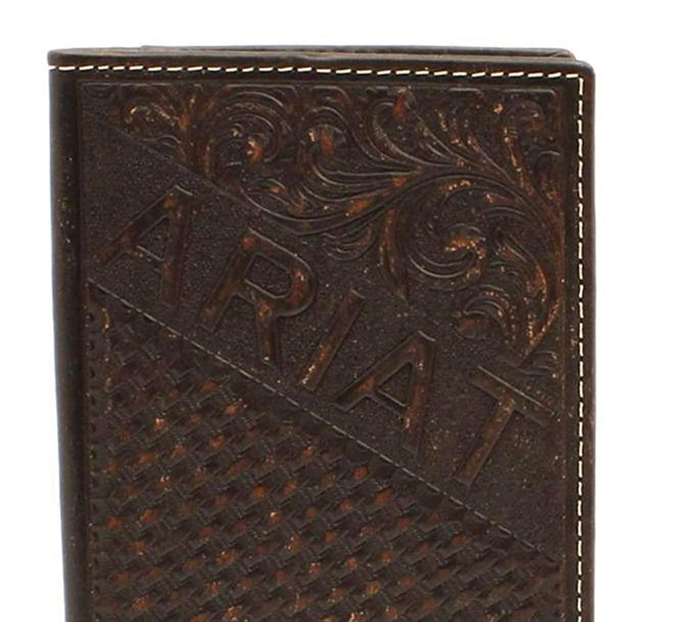 Ariat Mens Embossed Rodeo Wallet w//Ariat Shield
