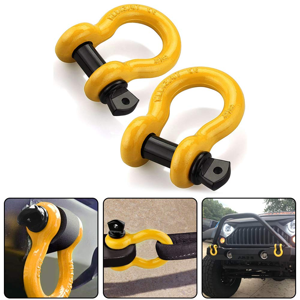RUGCEL Shackles 3/4'' (2 Pack) D Ring Shackle Rugged Off Road Shackles 28.5 Ton (57,000 lbs) Maximum Break Strength with 7/8'' Pin Heavy Duty D Ring for Jeep Vehicle Recovery, Orange by RUGCEL WINCH