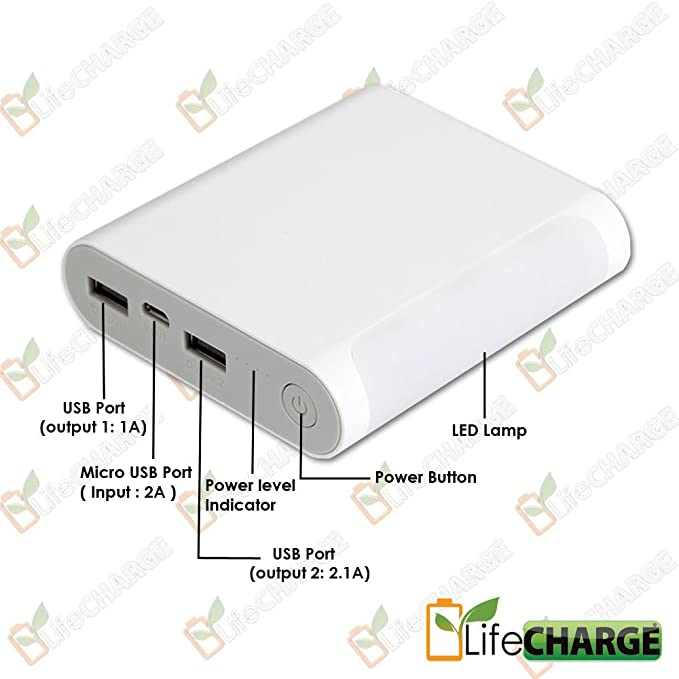 LifeCHARGE LED Charging Table Lamp 10,000mAh LED Dual USB External Backup  Power Pack For Smart