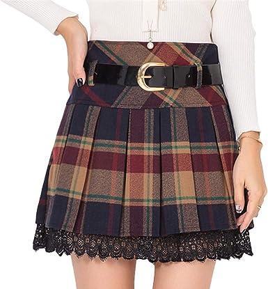 Hongxin Plisada Faldas para Mujeres Clásicas de Escocesa Tartán ...