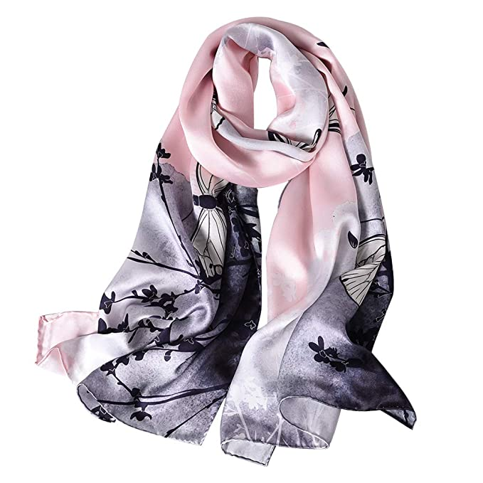 STORY OF SHANGHAI Women's Mulberry Flower Print Large Silk Shawl Scarf Wraps 68x43 Inches Green