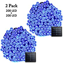 VMANOO Solar Christmas Lights, 72ft 22m 200 LED 8 Modes Solar String Lights for Outdoor, Indoor, Gardens, Homes, Party, Wedding, Xmas Tree Decorations, Waterproof (Blue)