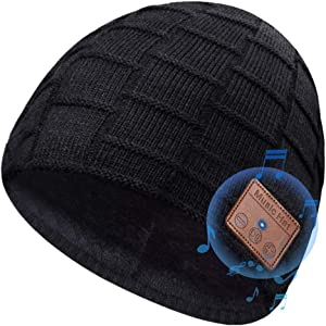 Bluetooth Beanie Hat for Men Women Upgraded 5.0 Winter Music Knit Cap Rechargeable Headphones with Hi-Fi Stereo Speakers for Teen Kids Boys Girls Sports Running Skiing Black