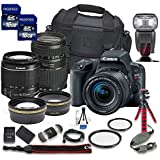 Canon EOS Rebel SL2 DSLR Camera with Canon EF-S 18-55mm f/4-5.6 IS STM Lens + Tamron 70-300mm f/4-5.6 Di LD Lens + 2 Aux Lenses + 2 Pcs 16GB Memory Card + Premium Accessories Bundle (18 Items)