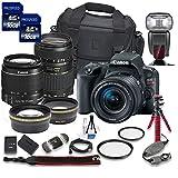 Canon EOS Rebel SL2 DSLR Camera with Canon EF-S 18-55mm f/4-5.6 IS STM Lens + Tamron 70-300mm f/4-5.6 Di LD Lens + 2 Aux Lenses + 2 Pcs 16GB Memory Card + Premium Accessories Bundle (18 Items)