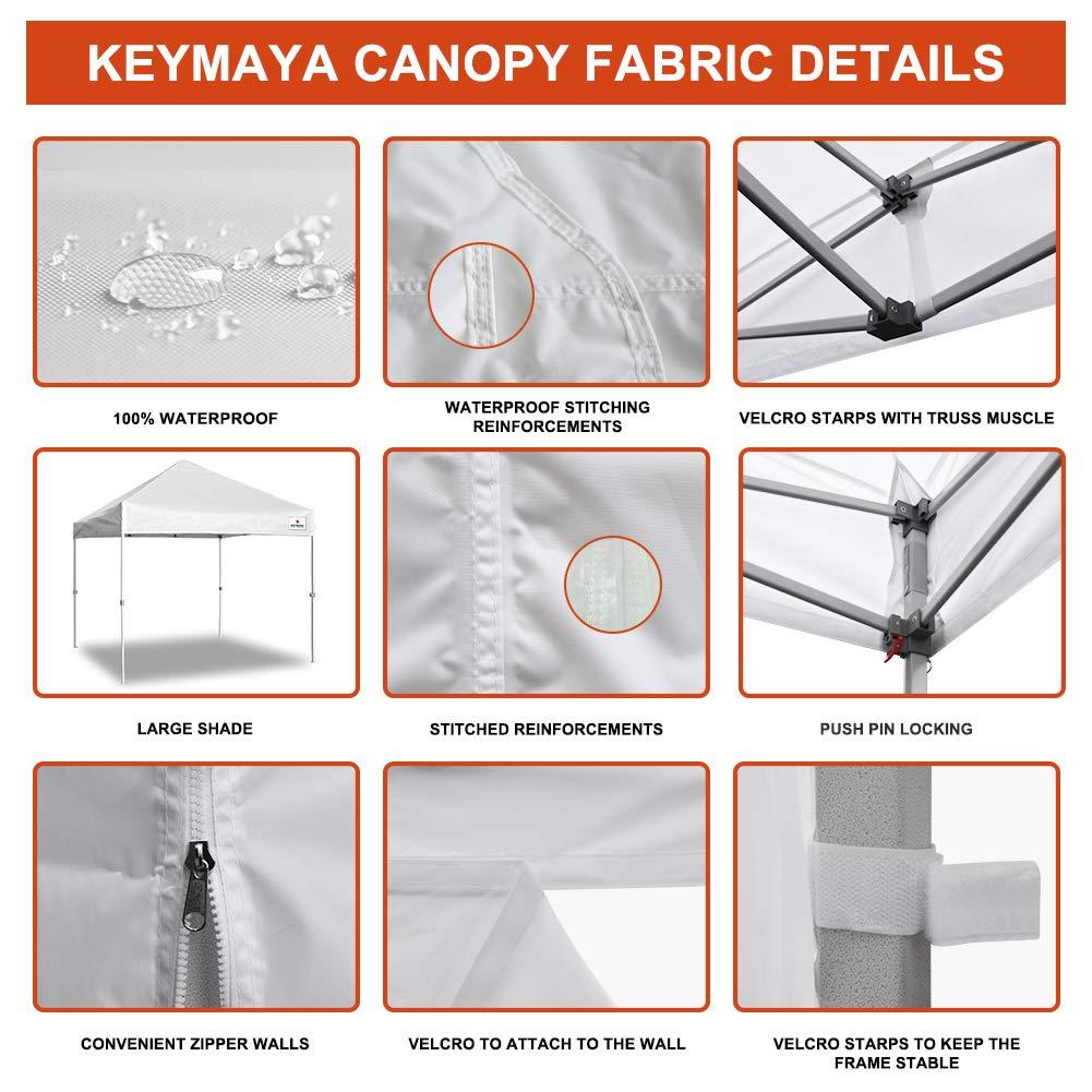 Keymaya 10'x10' Ez Commercial Instant Tent Heavy Duty Pop-up Canopy Shelter Bonus Weight Bag 4-pc Pack (Black) by Keymaya (Image #2)