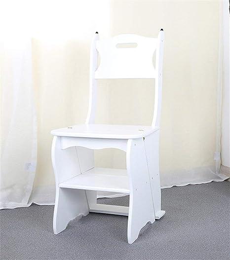 Q.AWOU Muebles de diseño Inteligente Silla Silla Plegable Escalera Multifunción Doble Uso Escalera de Cuatro Pasos Pino, taburetes de la Biblioteca de 3 Colores (Color: Blanco): Amazon.es: Hogar