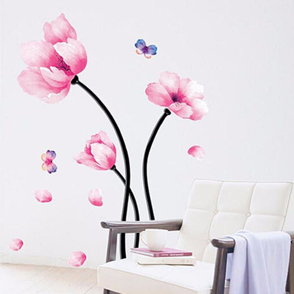 Bodhi2000® Pink Flower Wall Sticker Mural Decal Removable TV Sofa Background Home Art Decor TRTAZ11A