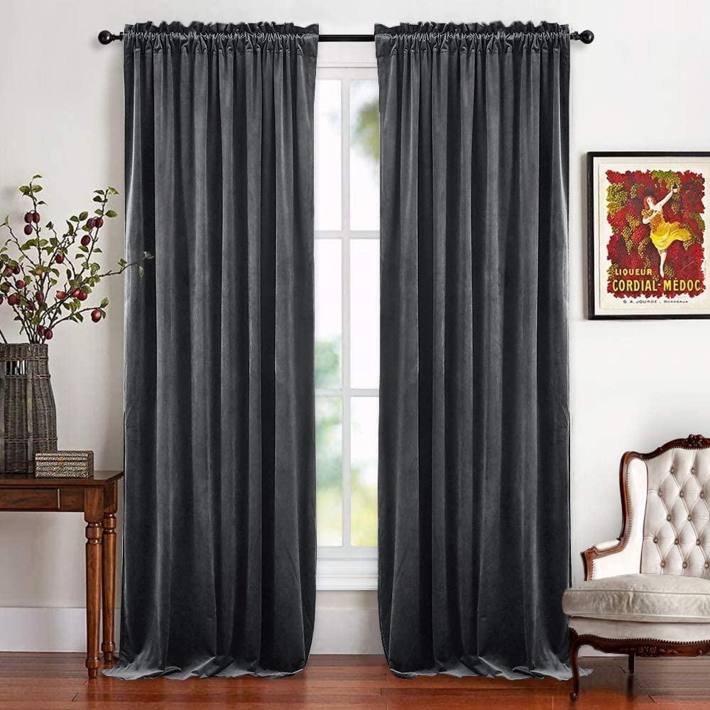 RYB HOME Velvet Bedroom Curtains - Soft Window Covering Thermal Insulated Half Blackout Texture Drapes for Home Theater Studio Living Room Window Decor, Wide 52 x Long 84, Grey, 2 Panels