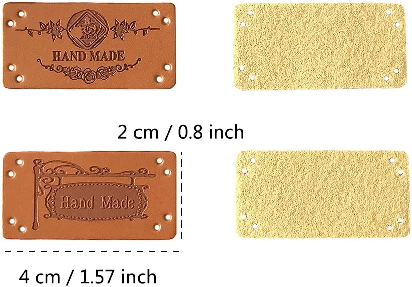 40PCS 2x4cm Juland 8 Styles PU Leather Label Clothing Hand Made Embossed Tag Embellishment Knit DIY Accessories for Jeans Bags Shoes Hat