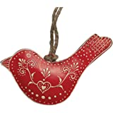 Small Red Rustic Bird Decoration With Hand Painted Cream Heart Design