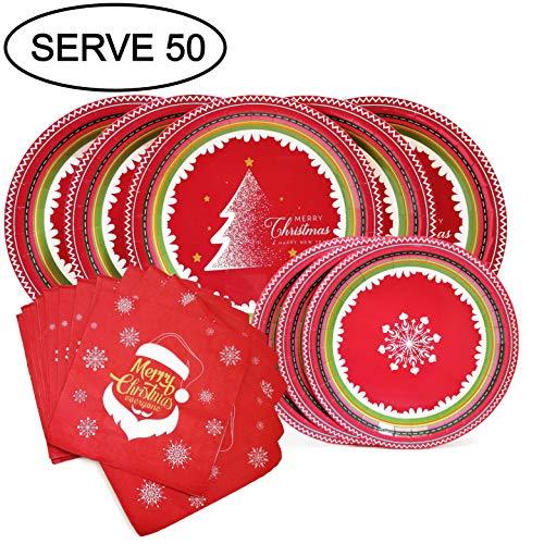 Christmas Plates and Napkins Winter Wonderland Theme with Christmas Tree Santa Claus Snowflake Serve 50 (Christmas Theme Paper)