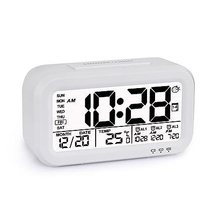 Despertador Reloj de Alarma Digital Programable Se Carga por USB 3 Alarmas Pantalla con Retroiluminación Inteligente