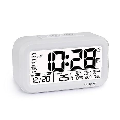 Reloj despertador de alarma digital, Programable, Batería 18650 Recargable y sustituible, 3 Alarmas, Pantalla con Retroiluminación inteligente, ...