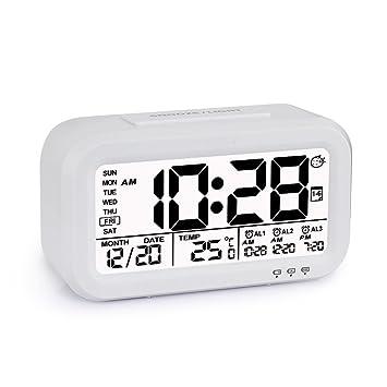 Reloj despertador de alarma digital, Programable, Batería 18650 Recargable y sustituible, 3 Alarmas