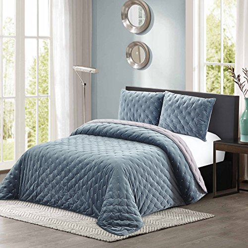 All American Collection New 3 Piece Thick Plush Velvet Coverlet Quilt Set (King Size, Grey-Blue) (Quilt Washed Velvet)