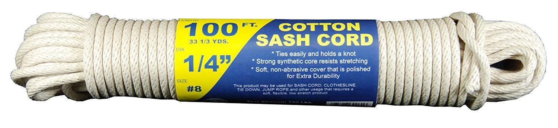 T.W Evans Cordage 46-080 Number-8 1//4-Inch Buffalo Cotton Sash Cord 100-Feet Hank