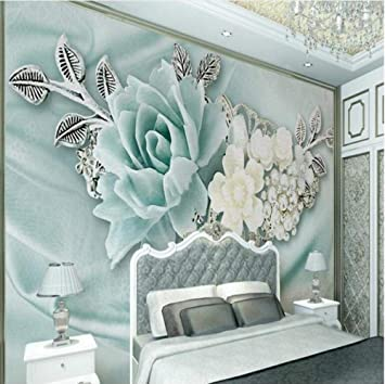 Amazon Com Large Custom Wallpaper 3d Stereo Mint Green Jewelry Pearl Oil Painting Flowers Tv Backdrop Home Decoration 150x120cm Home Improvement