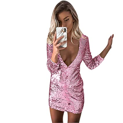 ed94c23485 Amazon.com: Women Dress Ladies Sexy Deep V Neck Long Sleeve Sequins ...