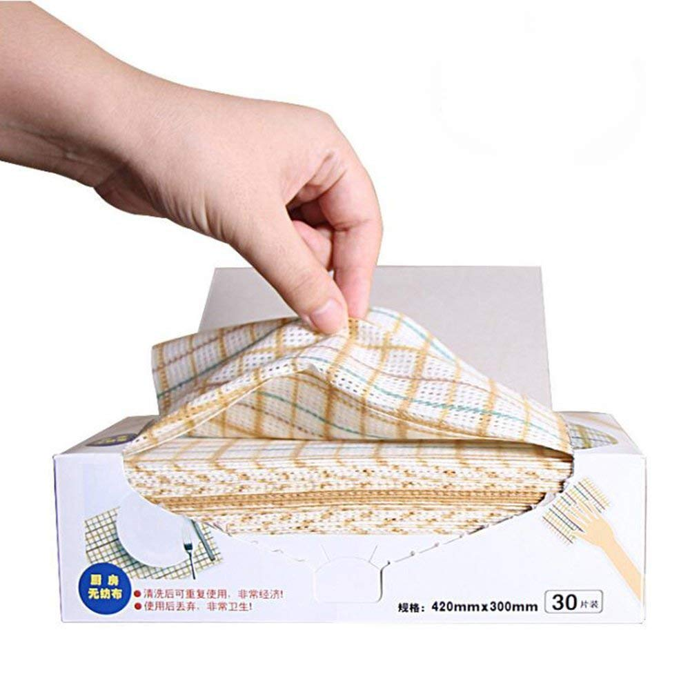 HONEYJOY Cleaning Towels Disposable Dish Cloths Nonstick Fiber Cleaning Wipes House Cleaning Cloth Wiping Rags, Absorbent, Dry Quickly, A Box of 30 Pcs
