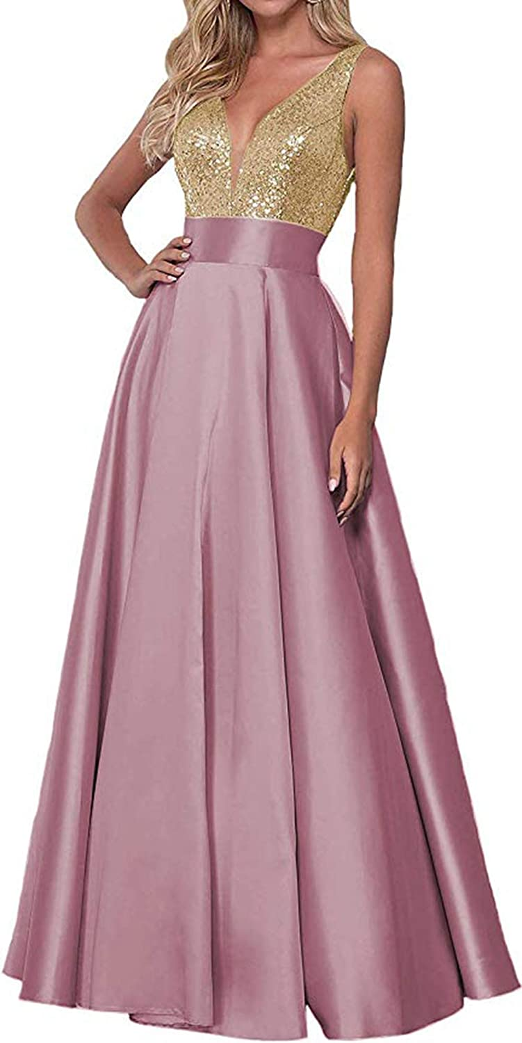 Dauty pink Rmaytiked Womens Sequins V Neck Prom Dresses Long 2019 Satin A Line Bridesmaid Dresses Formal Evening Ball Gowns