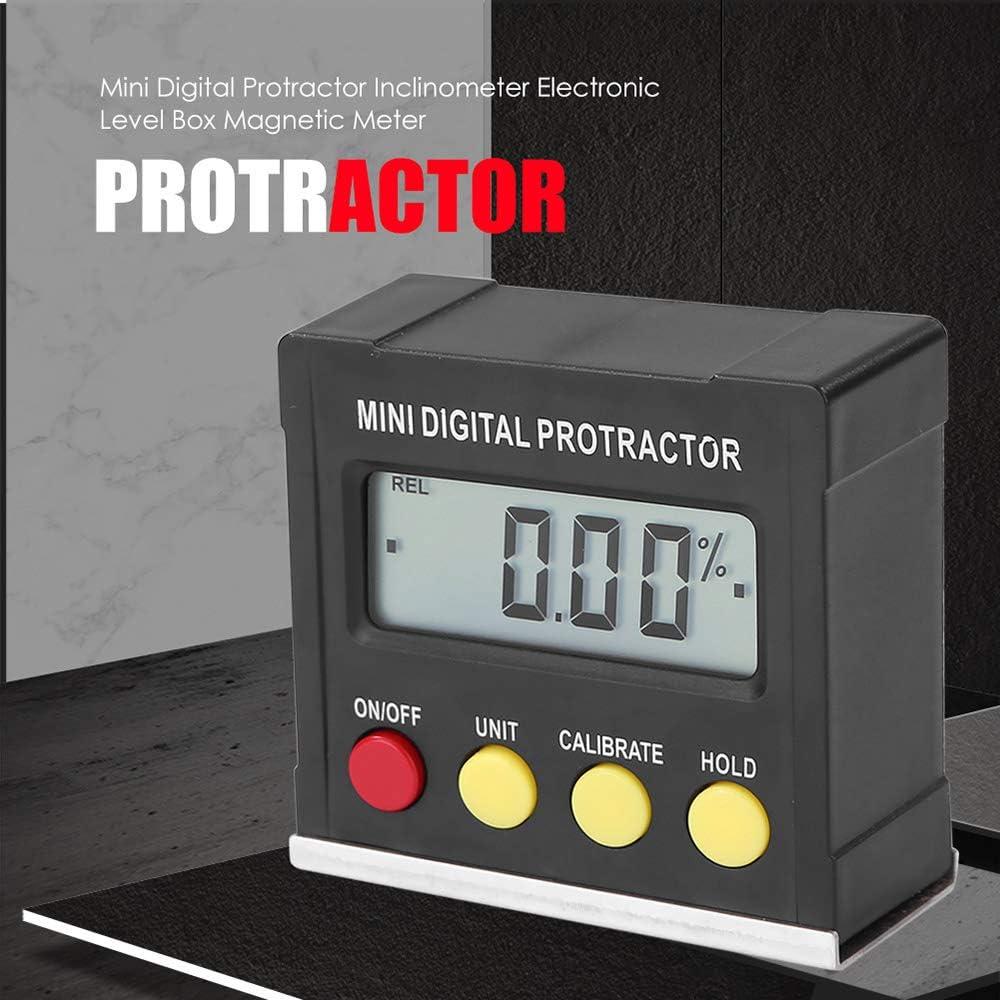 Medidor de /ángulo horizontal Protractor digital Inclin/ómetro Caja de nivel electr/ónico Herramientas de medici/ón de base magn/ética