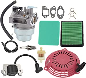 Hayskill GCV160 Carburetor w Air Filter Tune Up Kit Recoil Pull Starter Ignition Coil for Honda GCV160A GCV160LA GCV160LE Engine HRB216 HRR216 HRS216 HRT216 HRZ216 Carb Lawn Mower