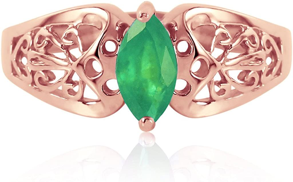 K14 Rose ゴールド Filigree Ring with Natural Marquis-shaped Emerald