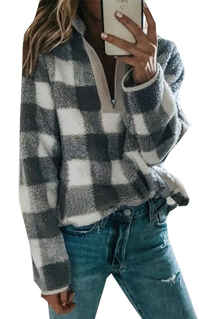 Esast Women Winter Plaid Thicken Sherpa Pullover Sweaters Long Sleeve Fleece Jacket