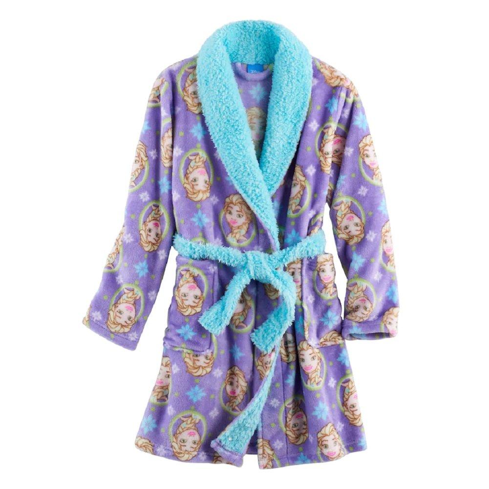 Disney Frozen Girls Elsa Snowflake Plush Robe Bathrobe Pajamas (8)